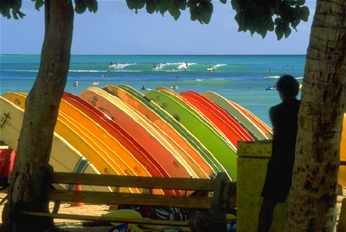 Colorful Surf Boards in Waikiki 1999