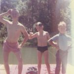Chickie, Chris & James enjoy some swimming at the ranch on a floating dock in Texas