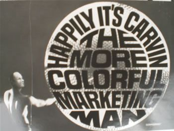 Carvin was known as the more colorful marketing man. Here is a photo of him striking a gong for a gong show.