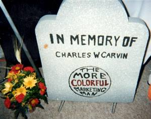 In conceiving of Ghostsurfers.com, James would not let his father be forgotten. Tombstone with flowers.