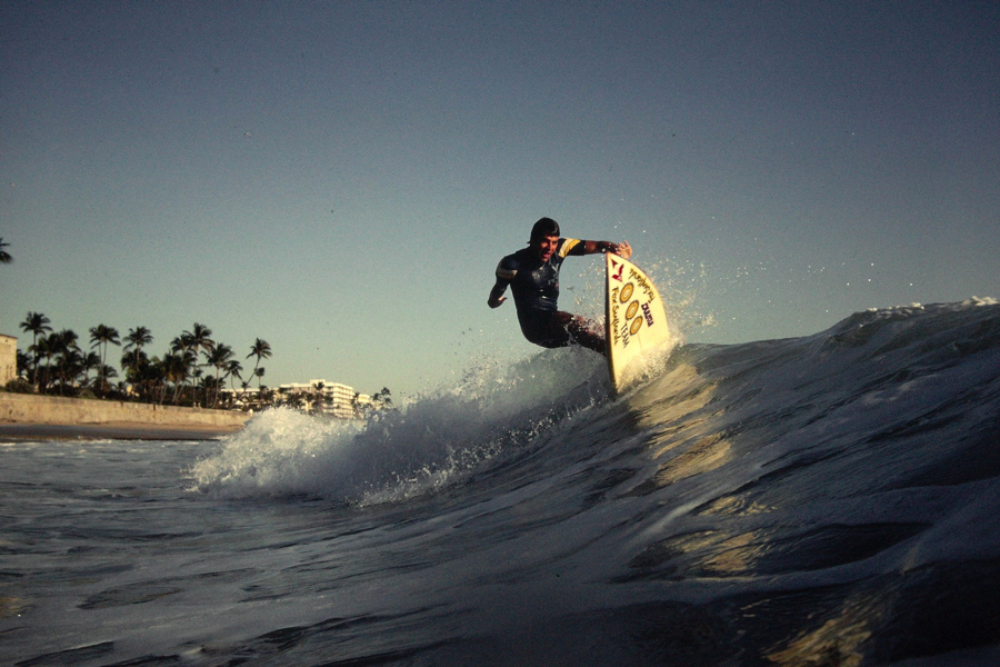Carvin's friend Alex Bach catching a ride of the Jungle Road Jetty on the south end of Palm Beach